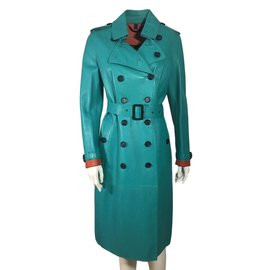 Burberry Prorsum-Leather trench coat-Blue