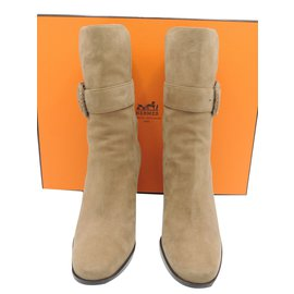 Hermès-Hermes boots daim camel-Beige