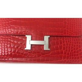Hermès-Sublime Pochette Hermès Constance en alligator couleur géranium neuf !-Rouge