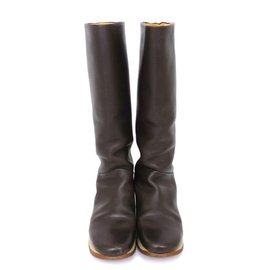 Hermès-Hermes Long Leather Boots-Brown