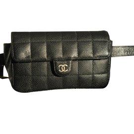 Chanel-Chanel, Pochette Chanel cuir Uniforme-Noir