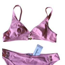 Chanel-Pink bikini with Chanel's double C buttons-Pink