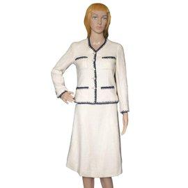 Chanel-plaid skirt suit-Cream