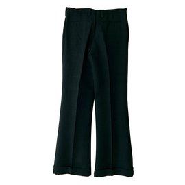 Lanvin-Pantalon large avec revers-Vert olive