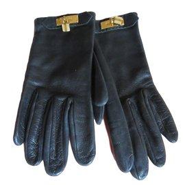 Hermès-Gloves Hermès Soya-Black