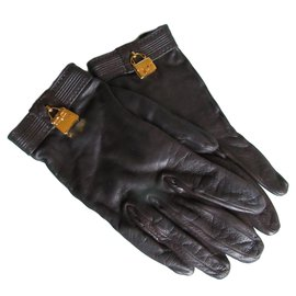 Hermès-Gloves-Dark brown