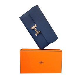 Hermès-Portefeuille Hermes Constance-Bleu