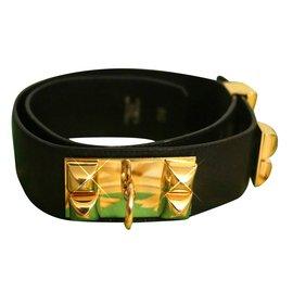 Hermès-Ceinture Collier de chien-Noir