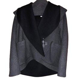 Hermès-Blouson capuche châle-Gris