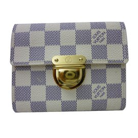 Louis Vuitton-Portefeuille Louis Vuitton Joey en damier azur !-Beige