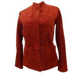 Hermès-Veste casaque en veau-Rouge