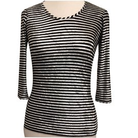 Chanel-Top manches 3/4 rayures noires blanches Chanel-Noir,Blanc