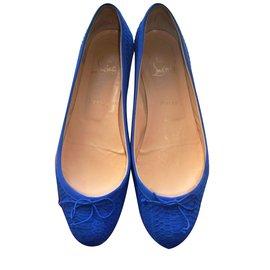 Christian Louboutin-Sonietta Flatt Watersnake-Bleu
