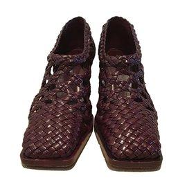 Céline-Woven leather heels-Dark red