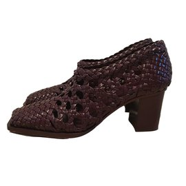 Céline-Woven leather heels-Dark red