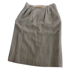 Hermès-Hermes Medor Skirt with Gold Tone Studs-Beige,Other