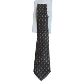 Hermès-cravate en soie imprimée-Gris