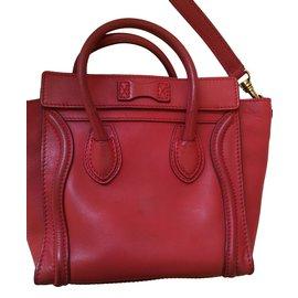 Céline-Celine Nano Luggage Rouge-Rouge