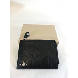 Vivienne Westwood-Zip Card Holder Man Leather-Noir