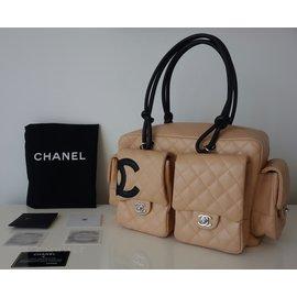 Chanel-SAC CHANEL CAMBON REPORTER BEIGE-Noir,Beige