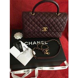 Chanel-Coco Handle Medium Bag Burgundy Caviar / Lizard / GOLD-Bordeaux
