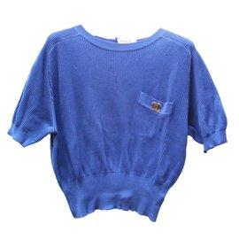 Chanel-Pulls, Gilets-Bleu Marine