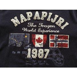 Napapijri-T-shirt manches longues 12 ans-Bleu Marine