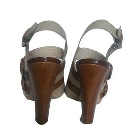 Max Mara-Sandals-Brown,Beige