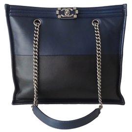 Chanel-SHOPPING BOY-Black,Navy blue