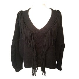 Bel Air-pull laine franges-Noir