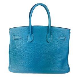 Hermès-Superbe Hermès Birkin 35 bleu jeans en Clémence Taurillon !-Bleu
