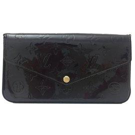 Louis Vuitton-Superbe Pochette/Sac Louis Vuitton Félicie en cuir verni couleur amarante neuf !-Marron