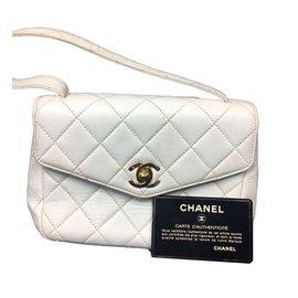 Chanel-Très beau Chanel Mini en cuir matelassé blanc !-Blanc