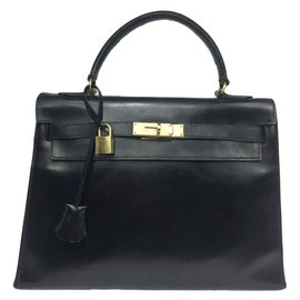 Hermès-Sac Hermès Kelly sellier 32 vintage en cuir box noir !-Noir