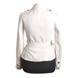 Burberry-Women's BURBERRY London Cotton  Military Double Breasted Belted short Jacket-Blanc