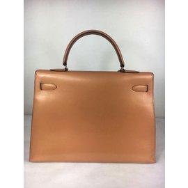 Hermès-Sublime & Rare Kelly 35 bandoulière sellier en cuir box nude  en excellent état !-Beige