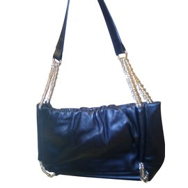 Lk Bennett-L.K. Bennett Black Leather shoulder bag with part - metal handles-Black