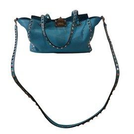b3e8aa0d63 Valentino-Small Rockstud Satchel Bag-Blue ...