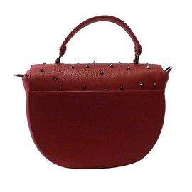 Christian Louboutin-Half-Moon Studded Top Handle Satchel Bag-Red