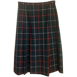 Burberry-Pleated wool skirt-Navy blue