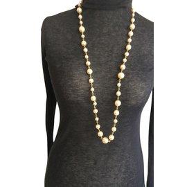 Chanel-Vintage sautoir perles sur chaine dorée-Autre