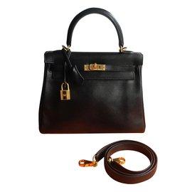 Hermès-KELLY 25 swift noir-Noir