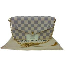 Louis Vuitton-Sac Pochette Louis Vuitton Félicie à damier azur état neuf !-Beige