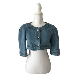 Chanel-Veste Bolero en denim-Bleu