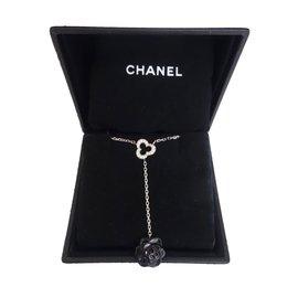 Chanel-COLLIER CAMELIA CHANEL-Noir,Blanc