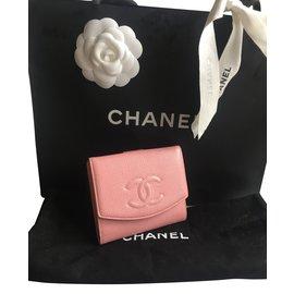 Chanel-Portefeuille CHANEL caviar rose NEUF JAMAIS PORTE-Rose