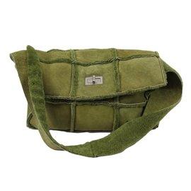 Chanel-Shearling bag-Olive green