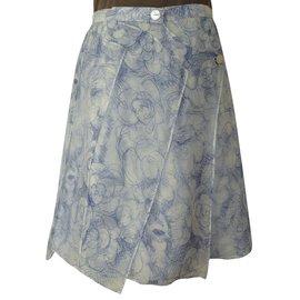 Chanel-Camelia Taille 36-38-Blanc,Bleu