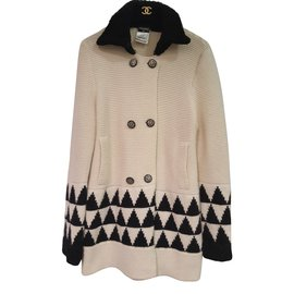 Chanel-Coats, Outerwear-Eggshell