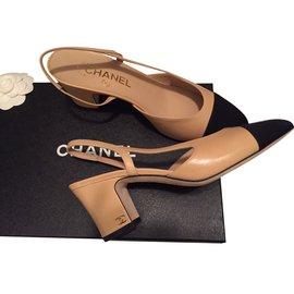 Chanel-Sandals-Black,Beige